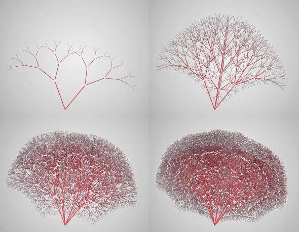 A binary tree, a 4-ary tree, 6-ary tree, and 8-ary tree.