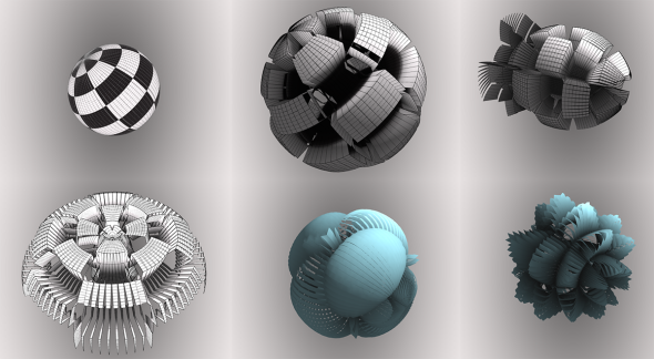 Checkboard displacement map / other displacement examples with different sphere opening